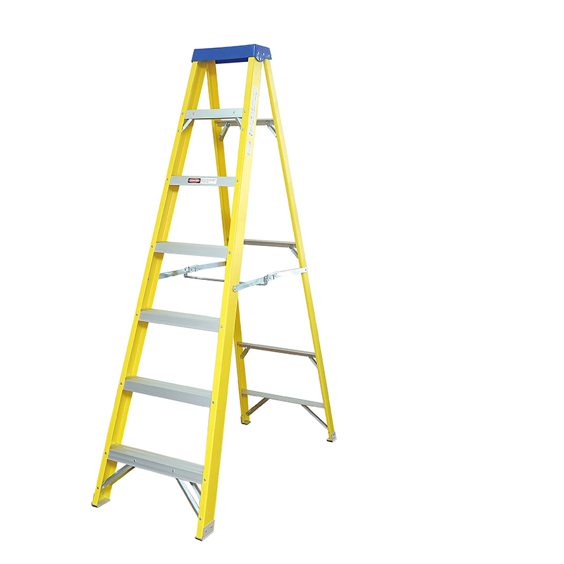 300mm Step Rise   Fiberglass Step Ladder 3-10 Tread EN 131